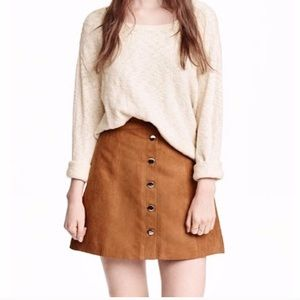 H&M camel suede snap front mini skirt